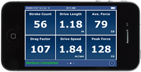 Screen showing extra data such as stroke length and drive force